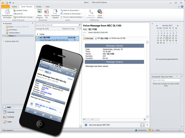 NEC SL1100 InMail In-Box Outlook Integration